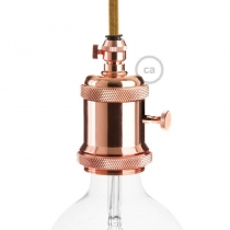 E27 Vintage copper finish Copper Lamp holder with dial switch